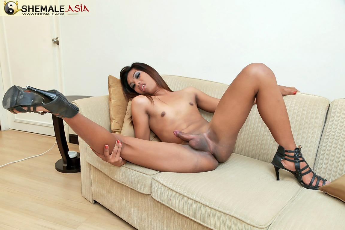 Thai ladyboy uncut big cock